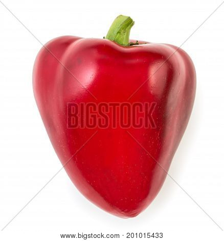 Sweet Red Pepper Bell In Shape Of Heart, Isolated On White Background