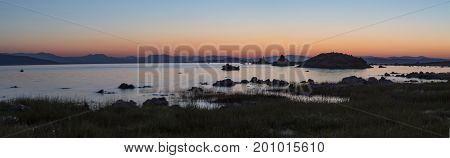 Mono Lake At Sunrise Panorama