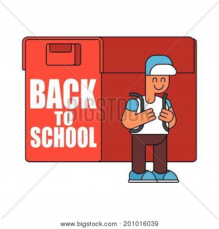Back To School.  Boy And Big  Schoolbag. Illustration For September 1. Schoolboy Goes To School With