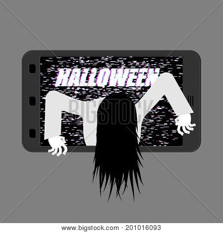 Halloween Witch Zombie From Smartphone. Zombie Girl Comes Out Of Phone Gadget. Interference Glitch P