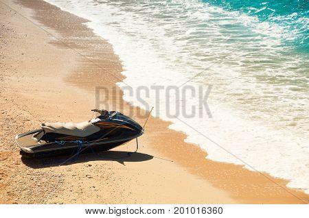 Jet ski on the beach, coast of the Mediterranean Sea