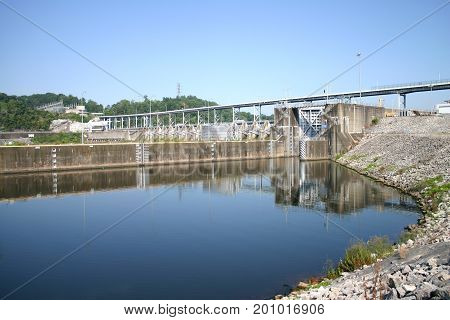 the TVA dam and spillway at Watts Bar in Tennessee