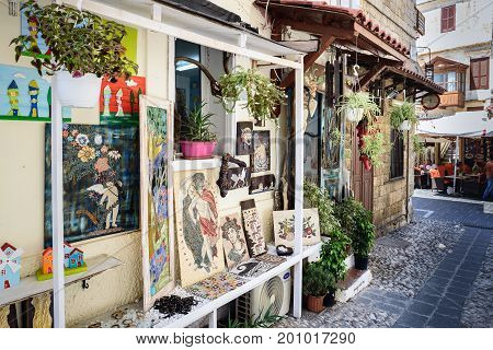 RHODES, GREECE - AUGUST 2017: Traditional Greek souvenir shop at Rhodes town on Rhodes island, Greece