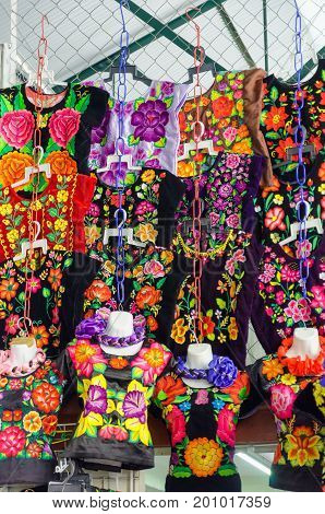 OAXACA MEXICO - MARCH 5: Traditional clothes for sale in a marketplace in Oaxaca Mexico on March 5 2017