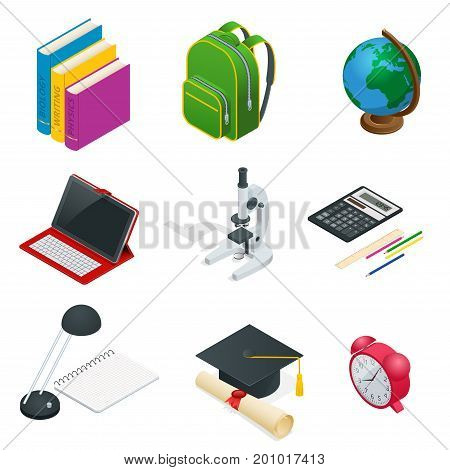 Isometric Educational Concept. Open book of knowledge, back to school, different educational supplies Can be used for workflow layout, banner, diagram, number options, web design and infographics