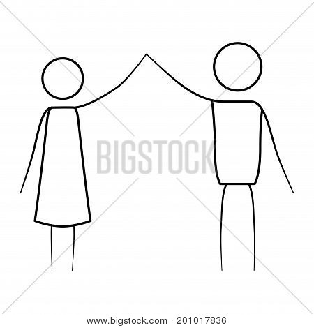 sketch thin contour of pictogram couple clashing hands in clothes vector illustration