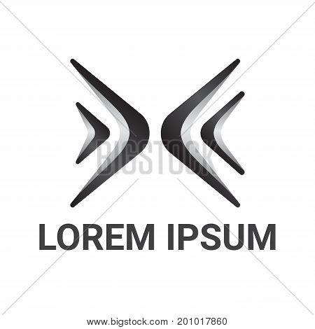 letter x vector logo design template, angle icon, corner sign, boomerang symbol, vector illustration