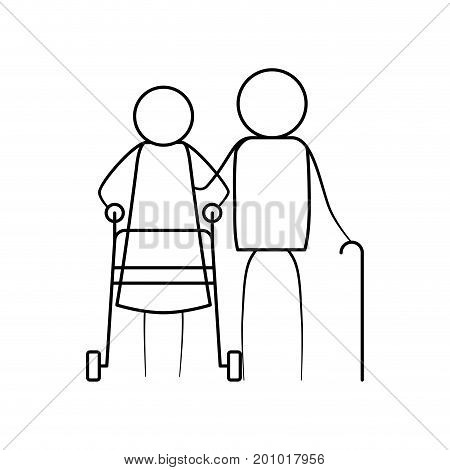 sketch thin contour of pictogram elderly couple with in assistence walker and stick in clothes vector illustration