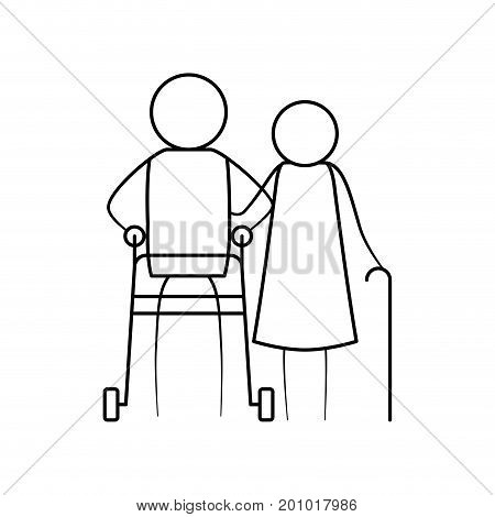 sketch thin contour of pictogram elderly couple with in man assistence walker and woman with stick in clothes vector illustration