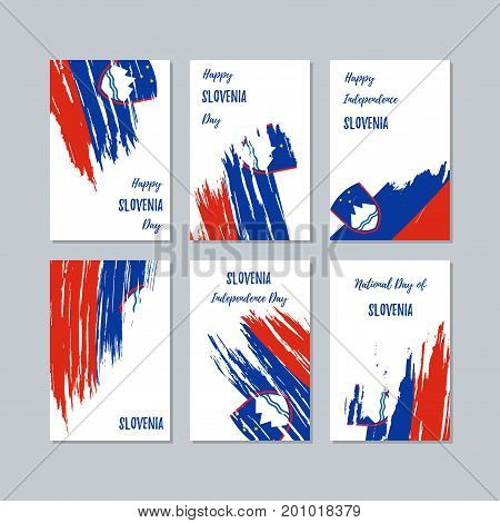 Slovenia Patriotic Cards For National Day. Expressive Brush Stroke In National Flag Colors On White