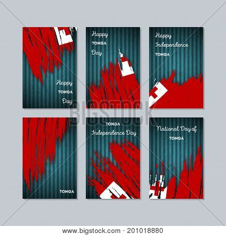 Tonga Patriotic Cards For National Day. Expressive Brush Stroke In National Flag Colors On Dark Stri