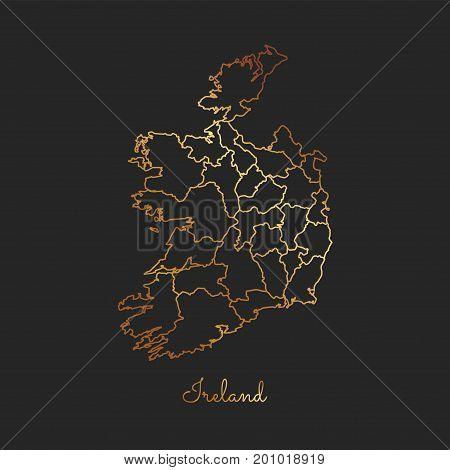 Ireland Region Map: Golden Gradient Outline On Dark Background. Detailed Map Of Ireland Regions. Vec