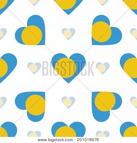 Palau Flag Heart Seamless Pattern. Patriotic Palau Flag Background. Country Flag In The Shape Of Hea