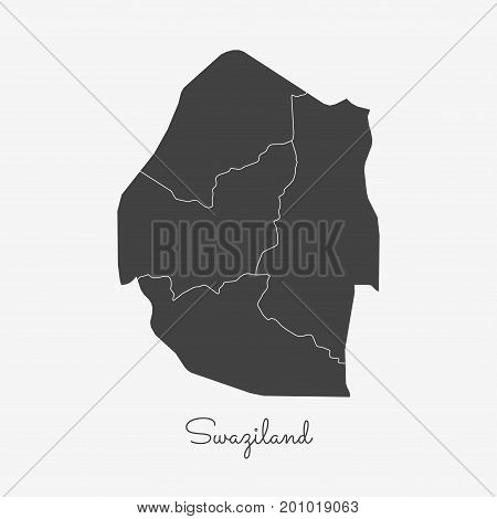 Swaziland Region Map: Grey Outline On White Background. Detailed Map Of Swaziland Regions. Vector Il