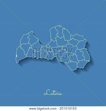 Latvia Region Map: Blue With White Outline And Shadow On Blue Background. Detailed Map Of Latvia Reg