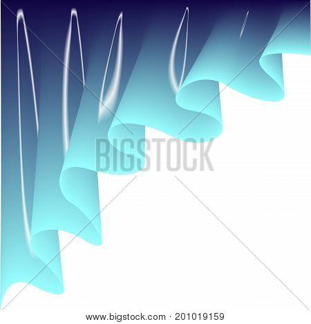 Light blue curtain. Drape silk texture on white background.Vector illustration