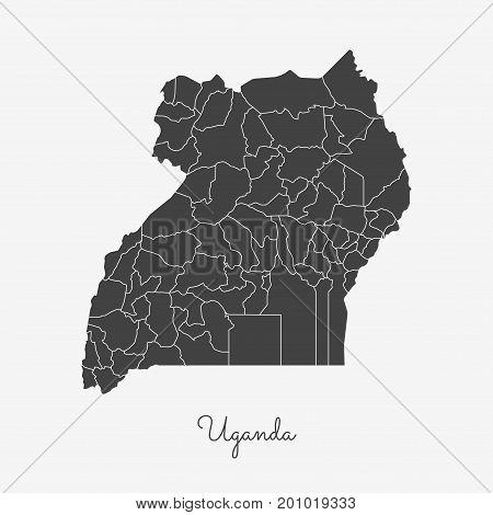 Uganda Region Map: Grey Outline On White Background. Detailed Map Of Uganda Regions. Vector Illustra