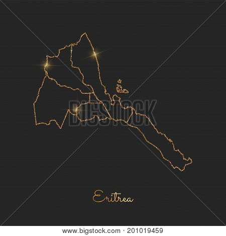 Eritrea Region Map: Golden Glitter Outline With Sparkling Stars On Dark Background. Detailed Map Of