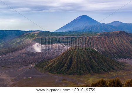 Caldera Tengger, Bromo, Batok And Semeru Volcanoes At Java Island In Indonesia.
