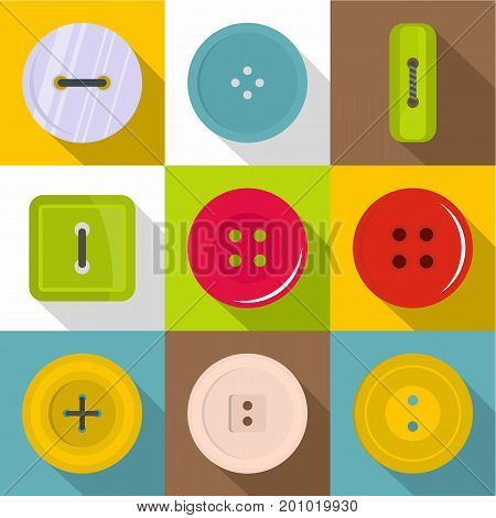 Sewing button icons set. Flat set of 9 sewing button vector icons for web with long shadow