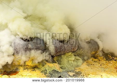 Sulfuric Gases At Ijen Crater Lake At Java Island In Indonesia.