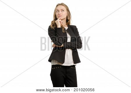 Beautiful young business woman pensive on a white background isolated