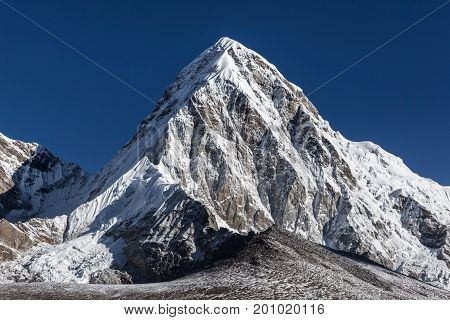 Pumori Mountain Summit On The Famous Everest Base Camp Trek In Himalayas, Nepal. Snowy Mountain Summ