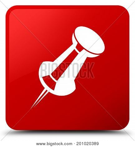 Push Pin Icon Red Square Button