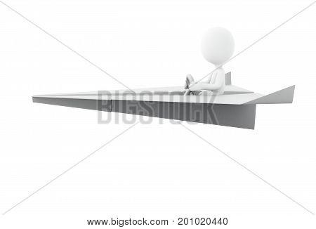 3D Illustration. White People Riding A Paper Plane