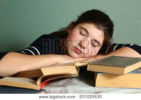 Student Teen Girl Sleep On Book Pile