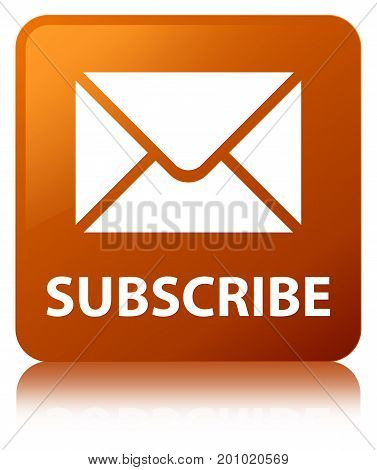 Subscribe (email Icon) Brown Square Button