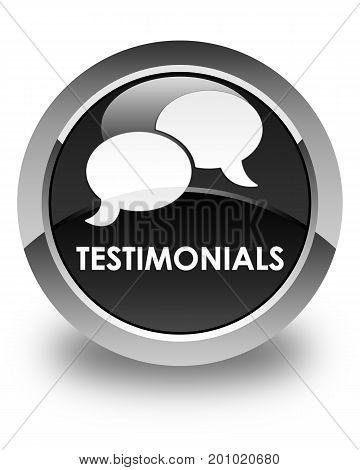Testimonials (chat Icon) Glossy Black Round Button