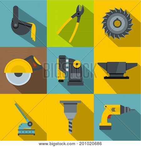 Blacksmith tools icons set. Flat set of 9 blacksmith tools vector icons for web with long shadow