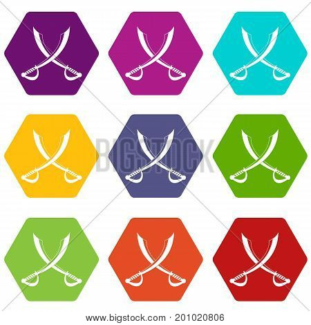 Crossed sabers icon set many color hexahedron isolated on white vector illustration