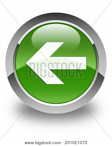Back Arrow Icon Glossy Soft Green Round Button