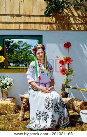 A Beautiful Girl In National Ukrainian Costume.