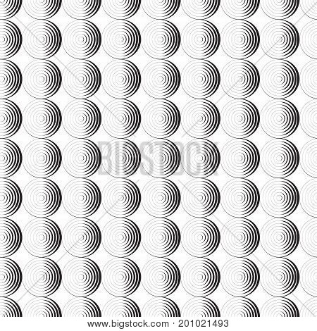 Seamless pattern background ornament of striped concentric circles. Retro mosaic of arches in black and white. Vector design element. Monochrome background.