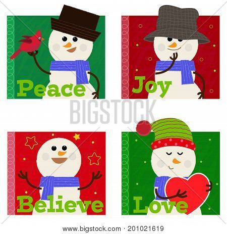 Cute vector set of four snowman icons. Eps10