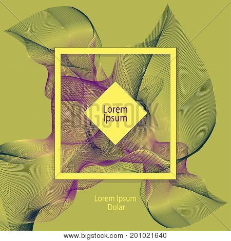 Template design with abstract smoke or with fractal  in olive green lilac yellow colors for advertising cosmetic perfume tea clothes elegant things