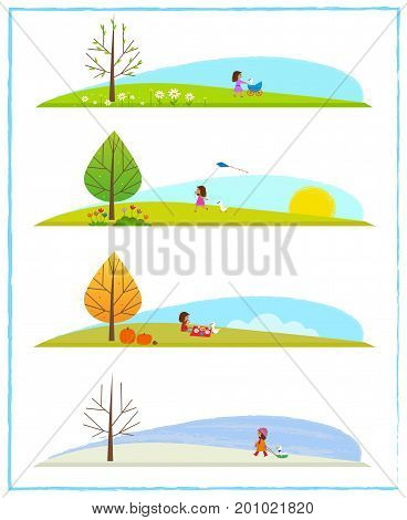 Cute clip art of the four season cycle, with a little girl and her goose. Eps10