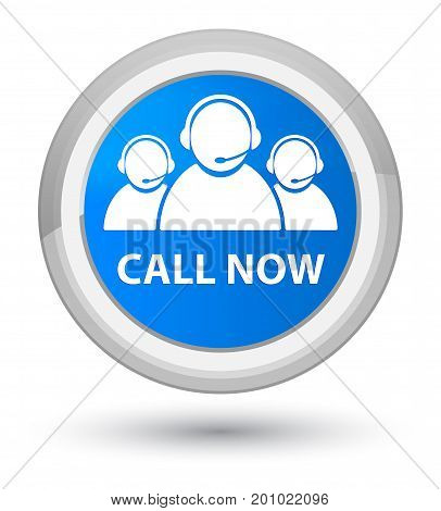 Call Now (customer Care Team Icon) Prime Cyan Blue Round Button