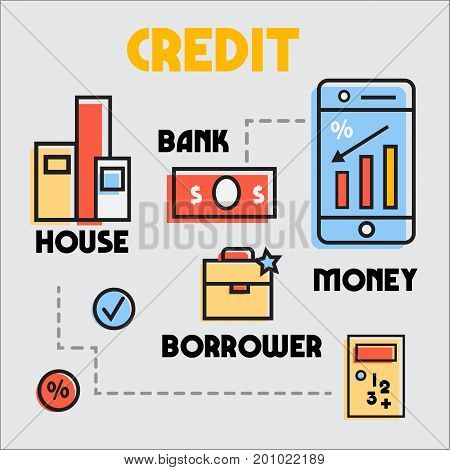 flat style, thin line art design. Set of application ecommerce business of credit and mortgage. vector illustration collection. Yellow, red and blue. MBE style.