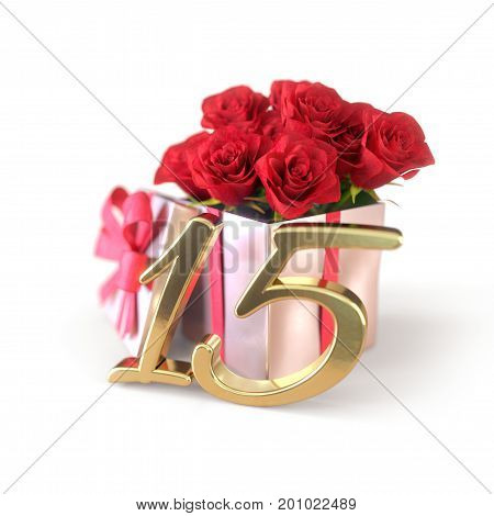 birthday concept with red roses in gift isolated on white background. 3D render - fifteenth birthday. 15th