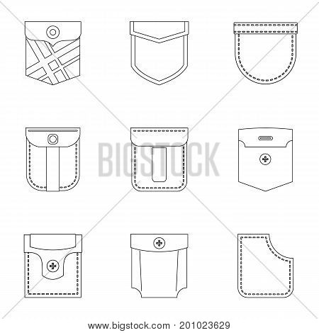 Pocket icon set. Outline set of 9 pocket vector icons for web isolated on white background