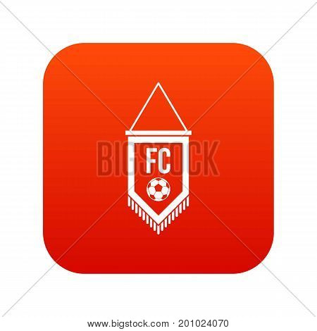 Pennant with soccer ball icon digital red for any design isolated on white vector illustration