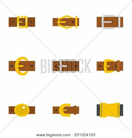 Belt buckle icon set. Flat set of 9 belt buckle vector icons for web isolated on white background