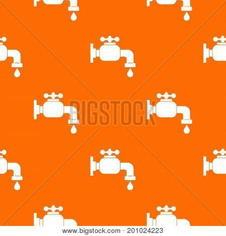 Water tap pattern repeat seamless in orange color for any design. Vector geometric illustration