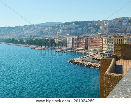 View Of Naples From Castel Dell'ovo Castle. Campania, Italy.