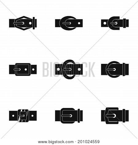 Belt buckle icon set. Simple set of 9 belt buckle vector icons for web isolated on white background