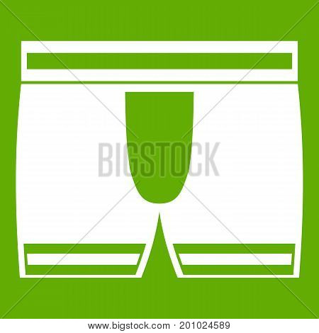 Man boxer briefs icon white isolated on green background. Vector illustration